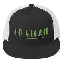 Load image into Gallery viewer, Go Vegan Text Green 3D Puff, Trucker Cap