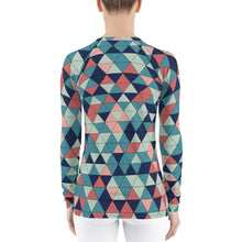 Load image into Gallery viewer, Multicolor Triangle Pattern, Women's Rash Guard