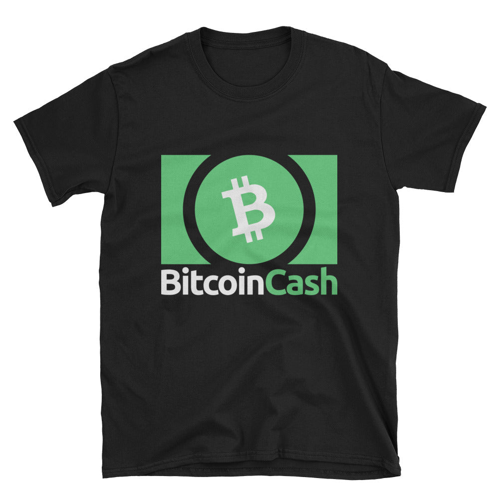 Bitcoin Cash BCH Logo 3 Green, Short-Sleeve Unisex T-Shirt