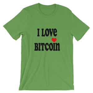 I Love Bitcoin Text, Short-Sleeve Unisex T-Shirt