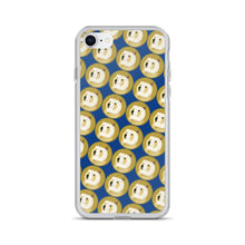Load image into Gallery viewer, Dogecoin Cryptocurrency Logo Pattern, iPhone Case Dark Blue