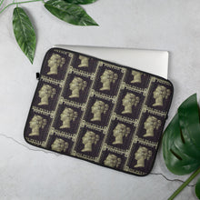 Load image into Gallery viewer, Penny Black Postage Stamp Pattern, Laptop Sleeve