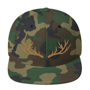 Deer Horn Antlers Embroidered Snapback Hat Green Camouflage