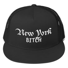 Load image into Gallery viewer, New York Bitch Text, Classic Trucker Cap BLACK