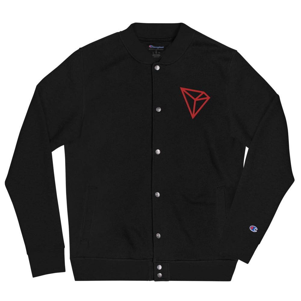 Tron TRX Cryptocurrency Logo Men's Embroidered Champion Bomber Jacket Black