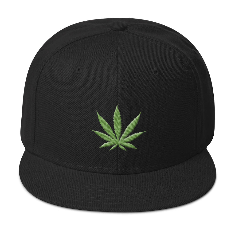 Cannabis Leaf 3D Puff With Legal Text Back, Snapback Hat