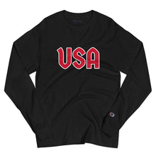 Load image into Gallery viewer, USA Text, Printed Men's Champion Long Sleeve Shirt