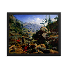 Load image into Gallery viewer, Framed Poster of oil painting on canvas showing miners in the Sierras