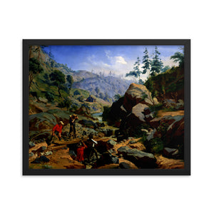 Framed Poster of oil painting on canvas showing miners in the Sierras