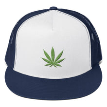 Load image into Gallery viewer, Cannabis Leaf Green 3D Puff, Classic Trucker Cap