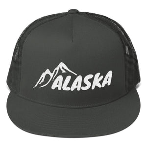 Alaska Text With Mountains, Classic Trucker Cap