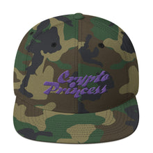 Load image into Gallery viewer, Crypto Princess Text, Snapback Hat Camo