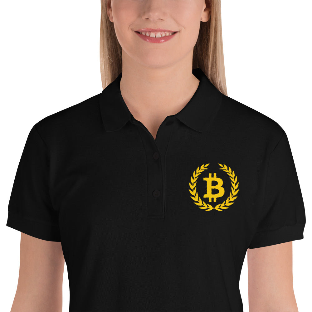 Bitcoin Wreath Gold, Embroidered Women's Polos