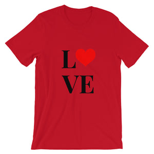 Love Heart 2, Short-Sleeve Unisex T-Shirt Red