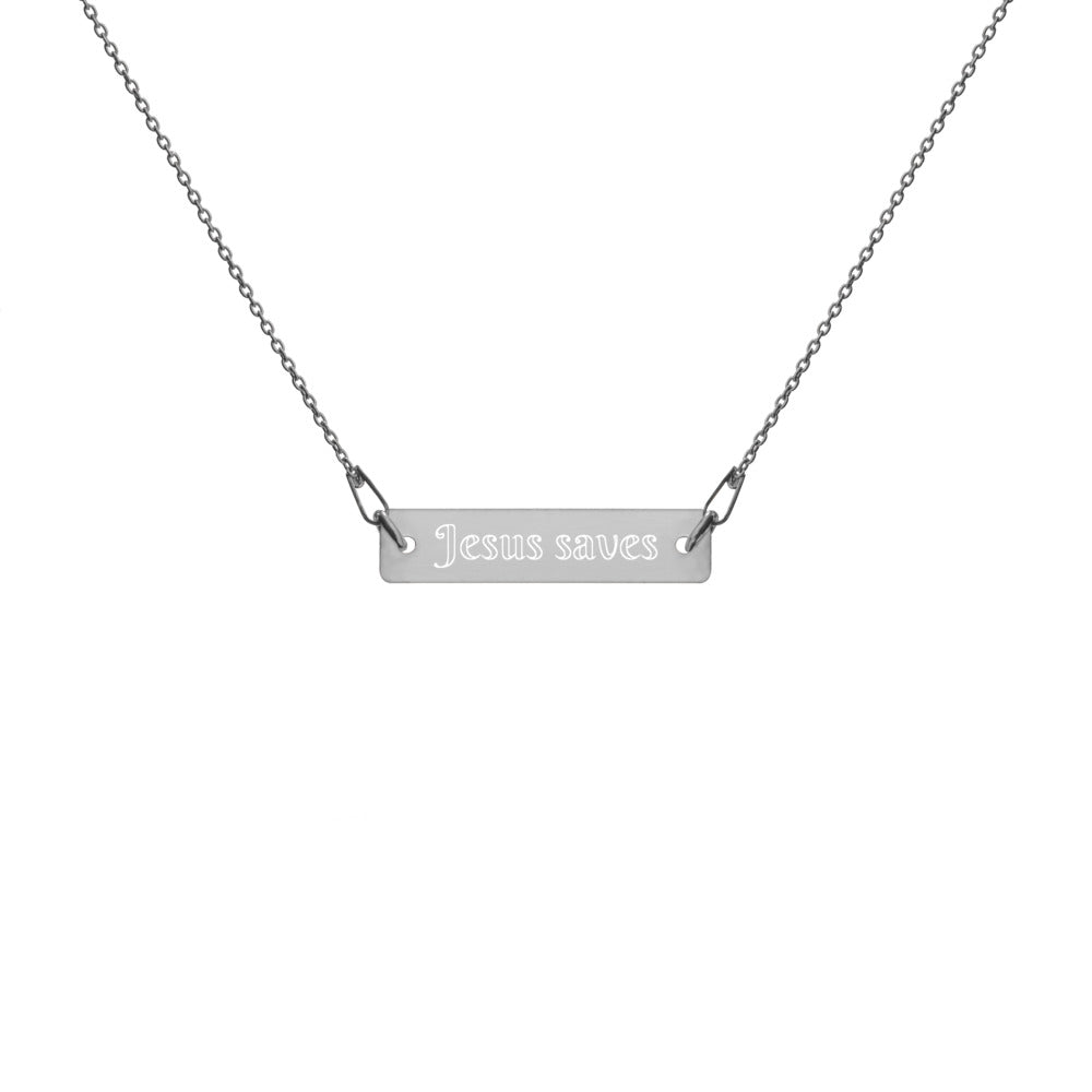 Jesus Saves Engraved Silver Bar Chain Necklace