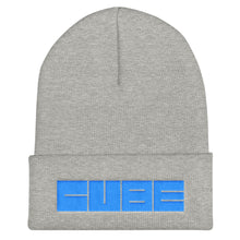 Load image into Gallery viewer, CUBE Text Blue, Unisex Cuffed Beanie