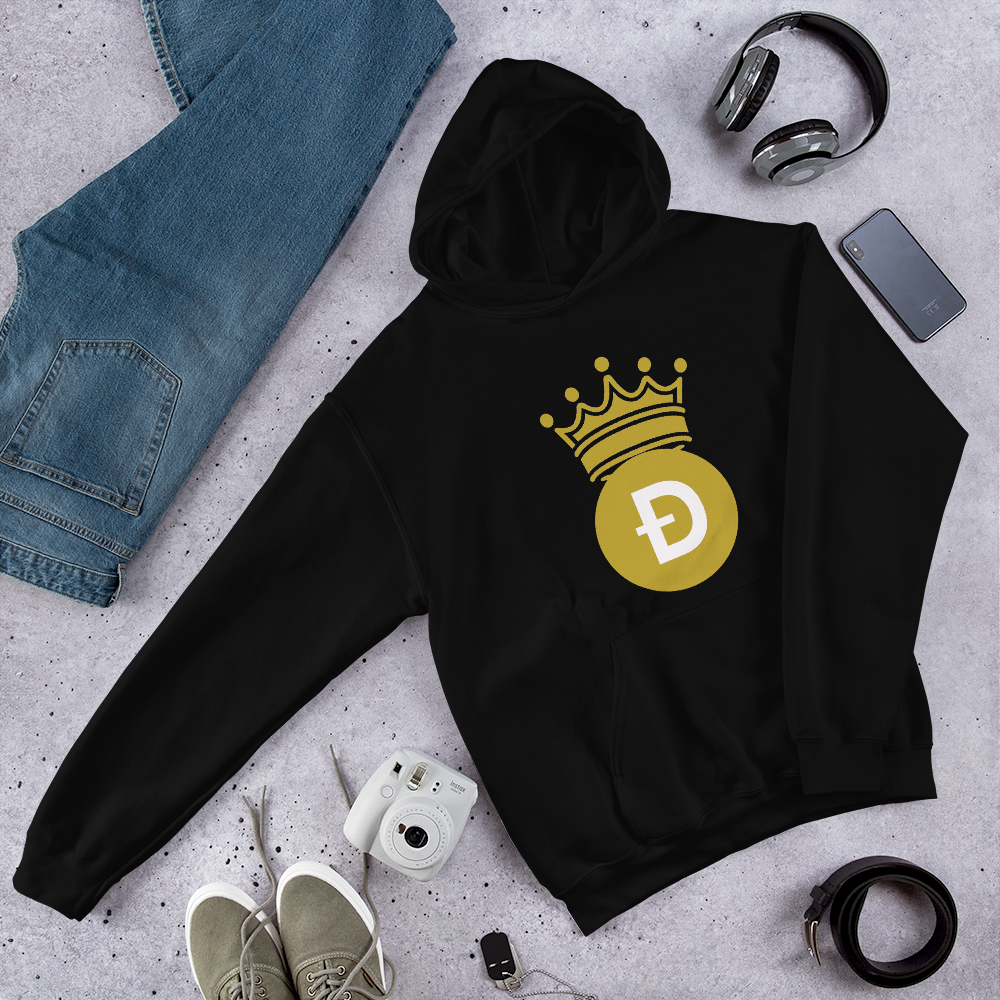 Dogecoin D Symbol With Crown, Unisex Hooded Sweatshirt