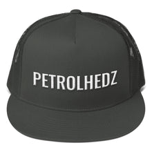 Load image into Gallery viewer, Petrolhedz Text White 3D Puff, Mesh Back Snapback CHARCOAL GRAY