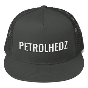 Petrolhedz Text White 3D Puff, Mesh Back Snapback CHARCOAL GRAY