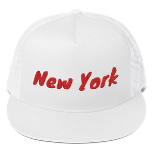 New York Text Red, Trucker Cap