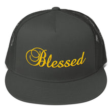 Load image into Gallery viewer, Blessed Text Gold, Classic Trucker Cap