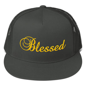 Blessed Text Gold, Classic Trucker Cap