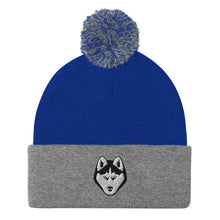 Load image into Gallery viewer, Husky Face Embroidered Pom-Pom Beanie