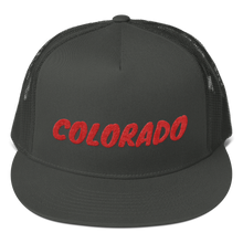 Load image into Gallery viewer, Colorado Text Red, Trucker Cap