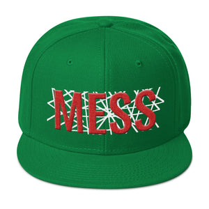 Mess Text With White Lines Partial 3D Puff, Snapback Hat
