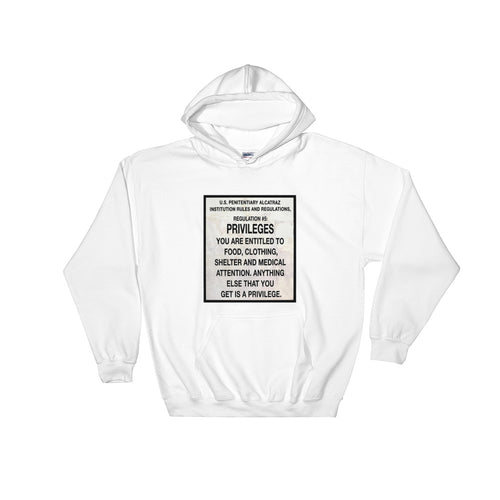 Alcatraz Prison Regulation Nr 5 Sign, Unisex Hooded Sweatshirt