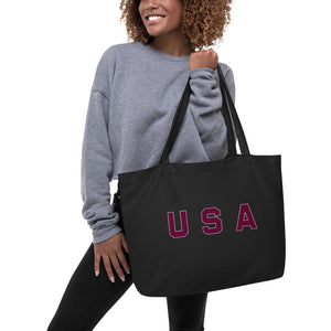 USA Text Large Eco Tote Bag Black
