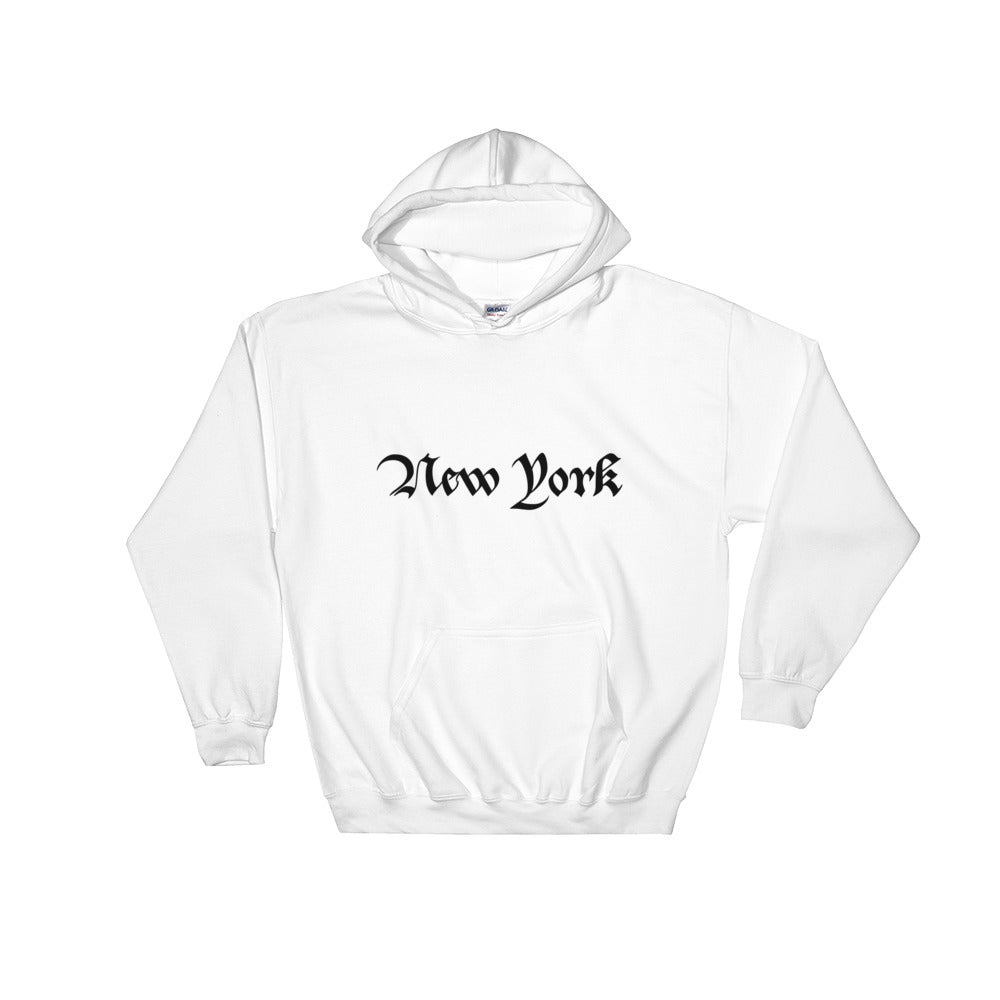 New York Text Black, Unisex Heavy Blend Hooded Sweatshirt