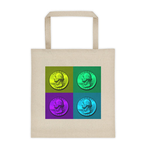 US Washington Quarter Dollar Coin Art, 12 Ounce Cotton Canvas Tote