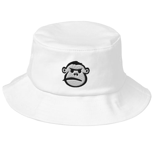 Angry Monkey Face Embroidered on Bucket Hat White