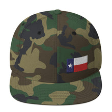Load image into Gallery viewer, Texas Lone Star Flag Small Left Side, Embroidered Snapback Hat Green Camouflage
