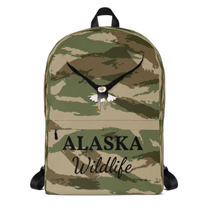 Alaska Wildlife Eagle, Backpack Green Camo