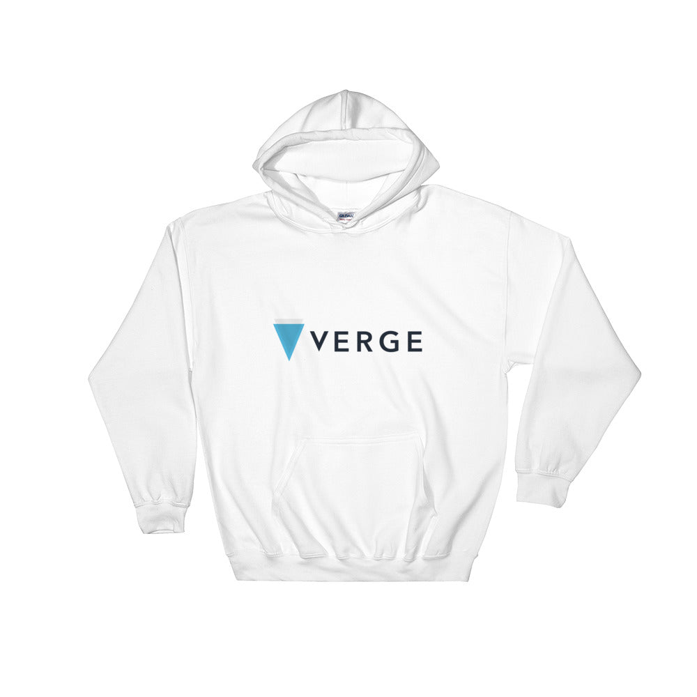 Verge Cryptocurrency Logo, Unisex Hooded Sweatshirt White
