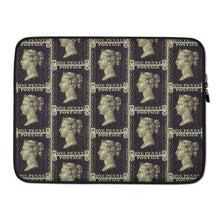 Load image into Gallery viewer, Penny Black Postage Stamp Pattern Laptop Sleeve 15 in