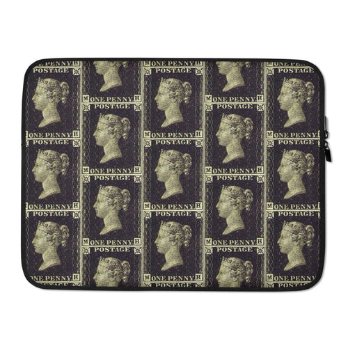 Penny Black Postage Stamp Pattern Laptop Sleeve 15 in
