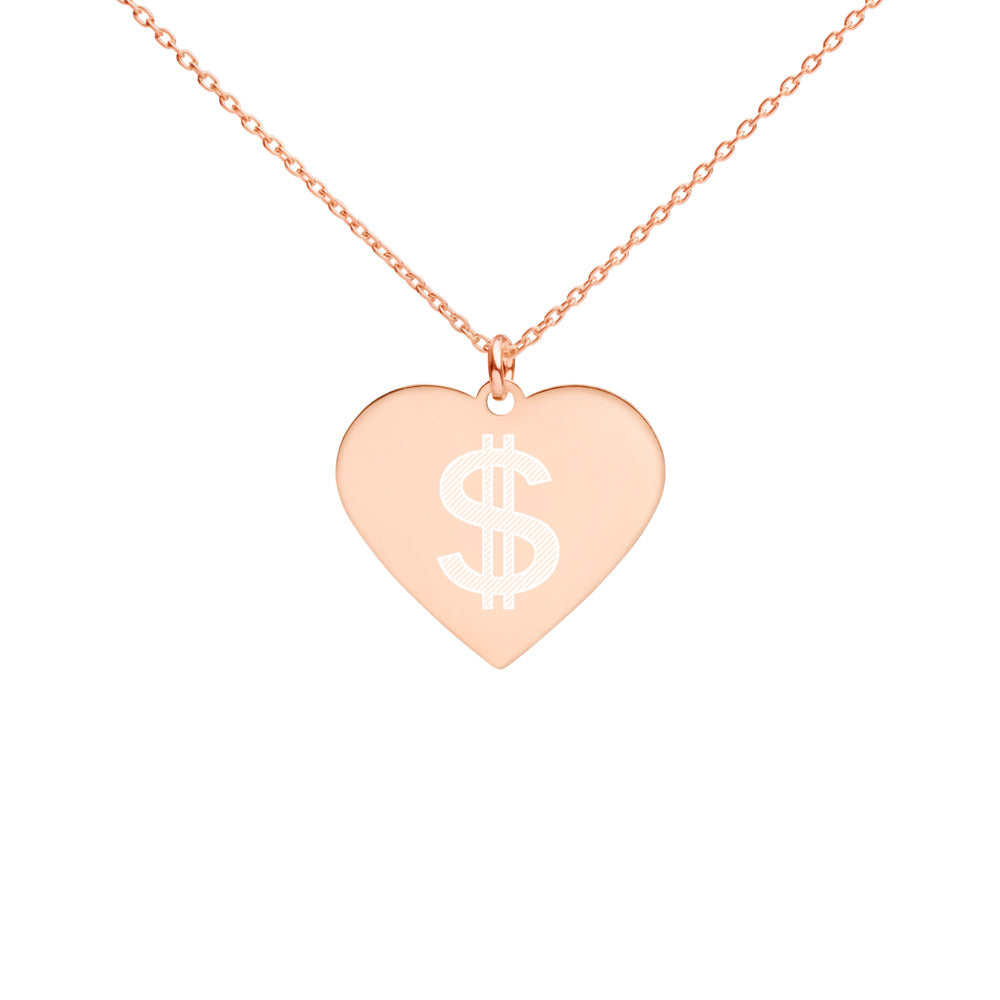 Dollar Sign Engraved, Silver Heart Necklace
