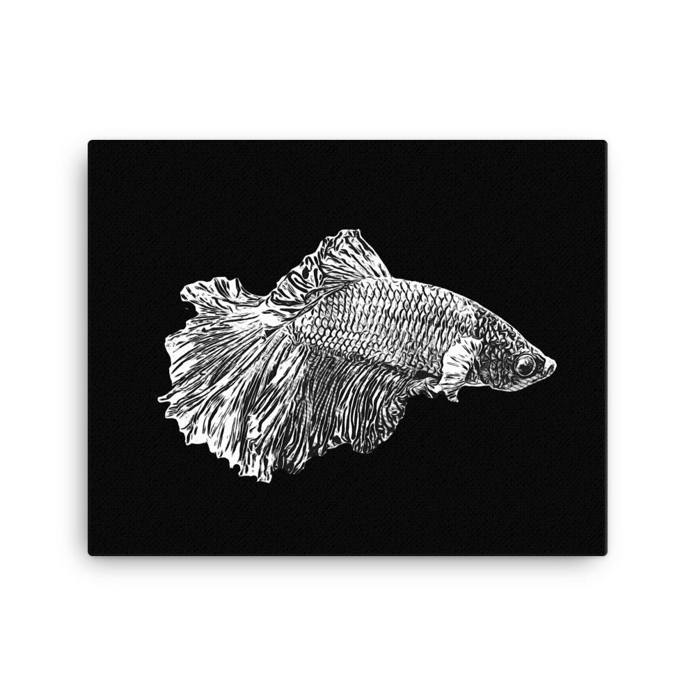 Betta Fish Black and White, Canvas Wall Art