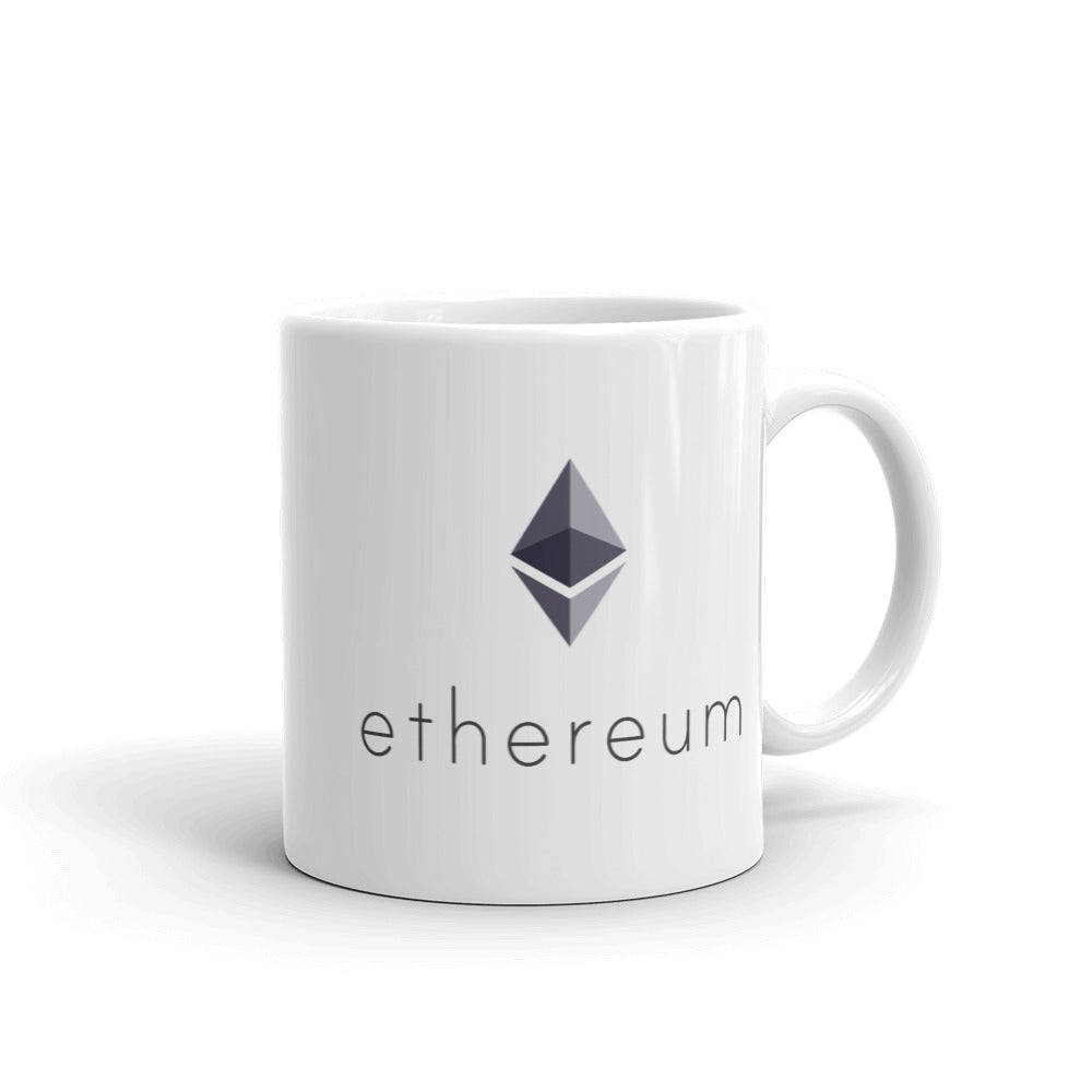 Ethereum ETH Cryptocurrency Logo, White Glossy Coffee Mug