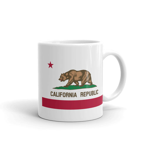 California Republic Flag, White Glossy Coffee Mug