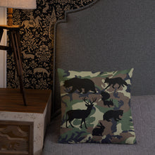 Load image into Gallery viewer, Forest Animals Silhouette, Premium Throw Pillow Camo