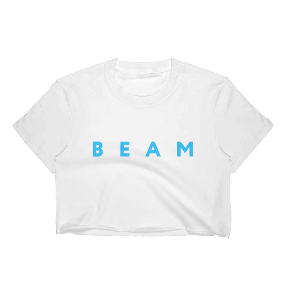 Beam Cryptocurrency Logo Text Blue, Women's Crop Top