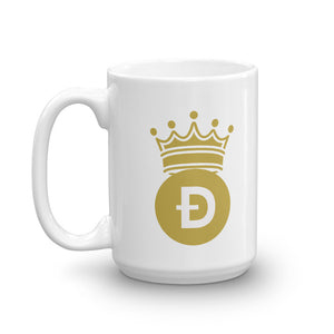 Dogecoin D Symbol With Crown, White Glossy Coffee Mug