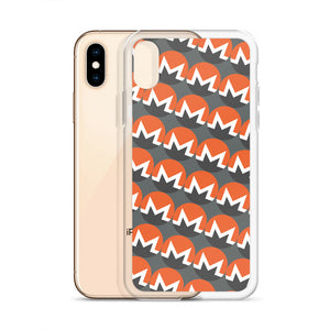 Monero Cryptocurrency Logo Pattern, iPhone Case Gray