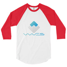 Load image into Gallery viewer, Waves Crypto Currency Logo With Text, Men's 3/4 sleeve raglan shirt