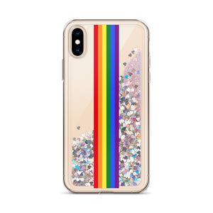 Pride Rainbow Flag Colors 2, Liquid Glitter iPhone Case
