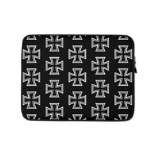 Load image into Gallery viewer, Maltese Cross Pattern Laptop Sleeve Black 13 in